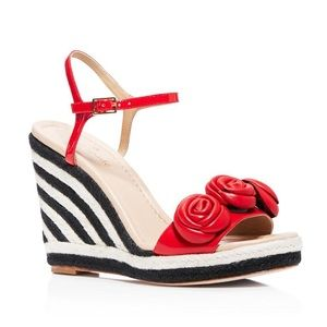 Kate spade striped jill red rose wedges